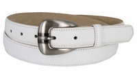 2528 Women's Skinny Genuine Smooth Leather Casual Dress Belt with Buckle
