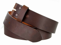 "5138 Made in USA One Piece Full Leather Belt Strap 1-1/2"" (38mm) Wide - BROWN"