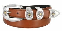 6764G Genuine Italian Calfskin Smooth Leather Belt Gold Star State of Texas - TAN
