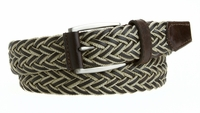 NEW!! Casual Jean Belt  Leather and Woven Polyester Braided Belt Beige - Made in the USA