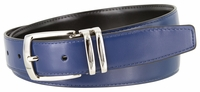 "NEW!!! 4008 Men's Reversible Leather Dress Belt Curved Double Loop Silver Clamp Buckle - 1 1/8"" wide"