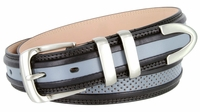 """Perforated Casual Genuine Leather Golf Belt - 1 1/4"""" Wide - Black/Gray"""