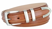 """Perforated Casual Genuine Leather Golf Belt - 1 1/4"""" Wide Tan"""