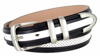 """Perforated Casual Genuine Leather Golf Belt - 1 1/4"""" Wide - Navy/White"""