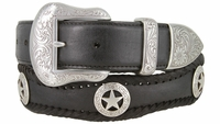3038 Engraved Star Western Scallop Leather Belts - 1 1/2 WIDE