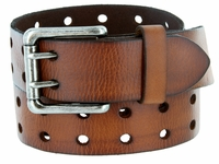 """2 Holes Silver Roller Buckle Vintage Full Leather Casual Jean Belt - 1 1/2"""" wide BROWN"""