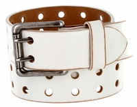 """2 Holes Silver Roller Buckle Vintage Full Leather Casual Jean Belt - 1 1/2"""" wide WHITE"""