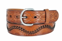 """2286 Western Tooled Hand Lace Full Grain Leather Belt - 1 1/2"""" wide TAN"""