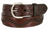 """2286 Western Tooled Hand Lace Full Grain Leather Belt - 1 1/2"""" wide BROWN"""