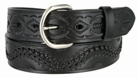 """2286 Western Tooled Hand Lace Full Grain Leather Belt - 1 1/2"""" wide BLACK"""