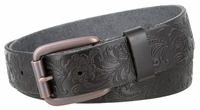 "NEW!!! 4447 Casual Floral Embossed Leather Belt - 1 1/2"" wide Roller Copper Buckle"
