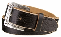 "4449 Viking Casual Tooled Full Grain Leather Belt - 1 1/2"" wide"