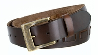 """3880 Men's Casual Jean Belt 100%  Genuine Full Grain Leather with a Middle Hand Laced and a Brass Buckle - BROWN - 1 1/2"""" WIDE"""
