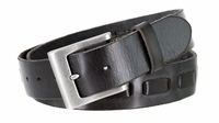 """3880 Men's Casual Jean Belt 100% Fullerton Genuine Full Grain Leather with a Middle Hand Laced and an Antique Silver Buckle - BLACK - 1 1/2"""" WIDE"""