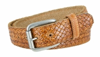 "3885 Fullerton Cross-weave Genuine Full Grain Double Stitched Edges Leather Belt Antique Silver Roller Buckle - TAN - 1 1/2"" WIDE"