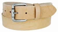 """3911 Natural Finish Full Grain Leather Belt with Roller Buckle 1 1/2"""" Made in USA"""