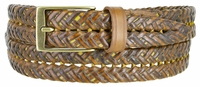 357 Braided Leather Dress Belt � 1 1/8� wide Mustard Yellow