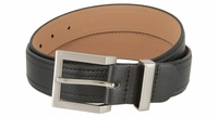 "Men's Synthetic Double Stitched Edges Pebbled Leather Casual Dress Golf Belt 1-3/8"" Wide"