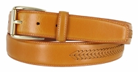 Tan Smooth Leather Belt with Matching Overlapped Leather