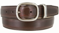 "718005 Center Buckle Genuine Italian Smooth Leather Dress Belt 1-1/4"" wide"