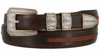 8204 Smooth Lacing Genuine Leather Belt with Silver and Gold Cross-weaved Buckle Set- FINAL SALE