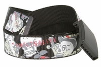 Canvas Military Web Punk Belt Black With Bottle Opener Metal Buckle 1.5 inch wide