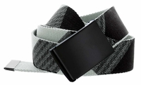 Canvas Military Web Style Belt Black Metal Buckle - Gray/Black