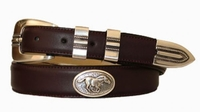 2203 Horse Concho Leather Dress Belt - CORDOVAN
