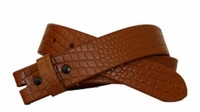 "3778 Croco - Embossed Leather Belt Strap - 1 3/8"" wide TAN"