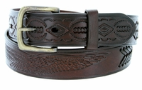 """Eagle Embossed Braided Genuine Leather Casual Belt - 1 1/2"""" wide BROWN"""