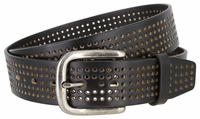 """NEW!!! 3811 Perforated 100% Leather Casual Jean Belt - 1 1/2"""" Wide - BLACK"""