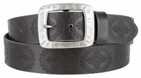 "4446 Medallion Vintage Casual Leather Belt - 1 1/2"" WIDE Silver Buckle"