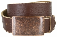 """NEW!!! 4481 Casual Full Grain Tooled Leather Belt - 1 1/2"""" wide Antique Copper Buckle"""