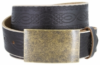 """NEW!!! 4481 Casual Full Grain Tooled Leather Belt - 1 1/2"""" wide Antique Brass Buckle"""