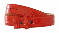 "1939 Croco Embossed Leather Belt Strap - 1 3/8"" wide RED"
