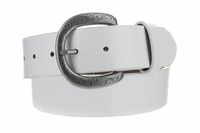 "NEW!! 3907 Women's Casual Genuine Full Grain Leather Belt  1 1/2"" White - Silver Buckle"