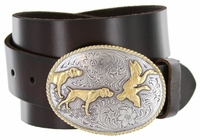 """2159 Hunter Full Grain Leather Jean Belt - 1 1/2"""" wide - Available in size 60"""""""