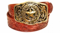 """2349 Texas Floral tooled full grain leather belt - 1 1/2"""" wide"""