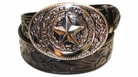 """2351 Texas Floral Full Grain Leather Belt - 1 1/2"""" wide"""
