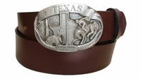 """2468 Texas Buckle Full Grain Leather Belt - 1 1/2"""" wide - Available in size 60"""""""