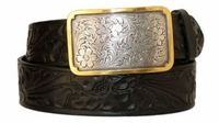 """3281 Floral Full Grain Leather Casual Belt - 1 1/2"""" wide"""