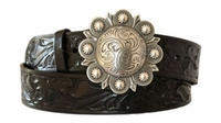 """4297 Berry Buckle Floral Western Leather Belt - 1 1/2"""" wide"""