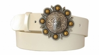 """4298 Berry Buckle Leather Belt - 1 1/2"""" wide"""