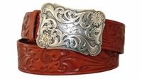 """3996 Floral western Buckle and Belt - 1 1/2"""" wide"""