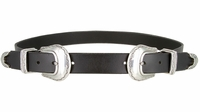"""Womens One Piece Hand Made Full Grain Genuine Leather Double Buckle Set Belt 1"""" Wide - Black"""
