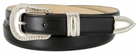 Smooth Genuine Leather Dress Belt with Rope Edge Style Buckle Set - Black