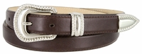 Smooth Genuine Leather Dress Belt with Rope Edge Style Buckle Set - Brown
