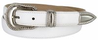 Smooth Genuine Leather Dress Belt with Rope Edge Style Buckle Set - White