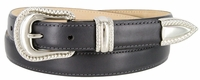Smooth Genuine Leather Dress Belt with Rope Edge Style Buckle Set - Gray