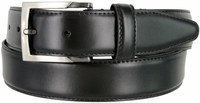 "MA133860 Genuine  Leather Dress Casual Belt 1-3/8"" (35mm) wide with Nickel Plated Buckle - BLACK"